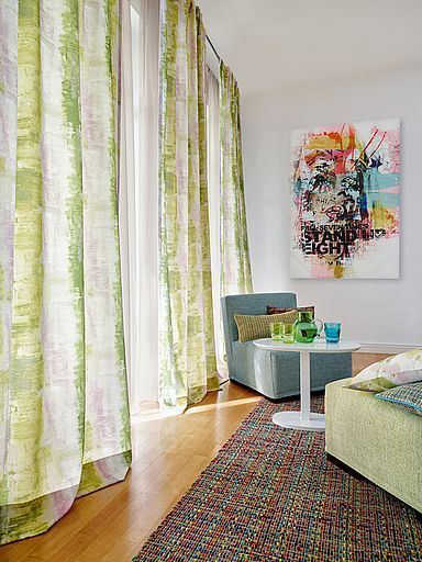 A Fresh And Zingy Spring Colour Palette For Sheer Curtains Voiles Lime Green Duck Egg Blue Natural Cream Yellow On Loosely Woven Linen