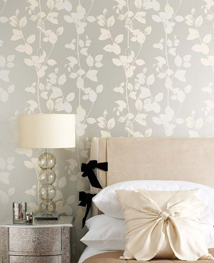 Master bedroom grey wallpaper