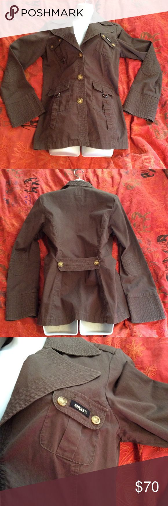 Field jacket military jacket guess jeans olive Guess size medium field military jacket olive green. I don't think I ever wore it still feels crispy. Hot for spring 2017 pockets buttons elbow patches. Short trench coat Guess Jackets & Coats