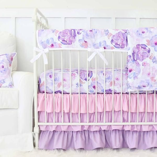 Purple Petal Party Ruffle Crib Bedding