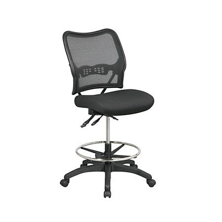 office star space deluxe ergonomic air gridmesh armless drafting chair black 255 - Drafting Chairs