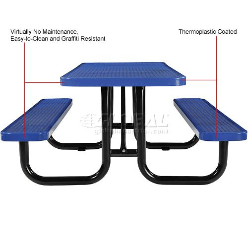 "Benches & Picnic Tables | Picnic Tables - Steel | 72"" Rectangular Expanded Metal Picnic Table Blue 