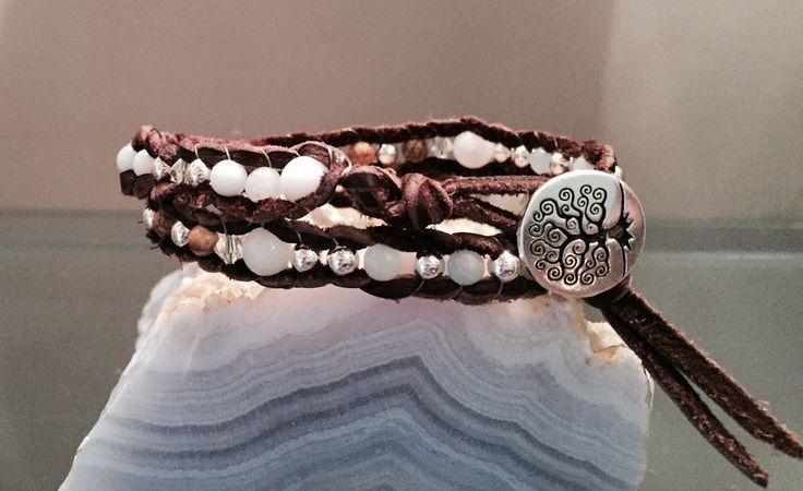 Simple Beauty This understated double wrap bracelet has the perfect combination of amazonite, picture jasper, swarovski crystals, silver plated metal and soft leather.