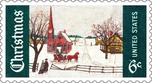"This week we continue recounting the 50 Years of Christmas Stamps beginning with this stamp issued in 1969. It features a 19th-century painting called ""Winter Sunday in Norway, Maine."" The artist is unknown, but what an idyllic scene!"