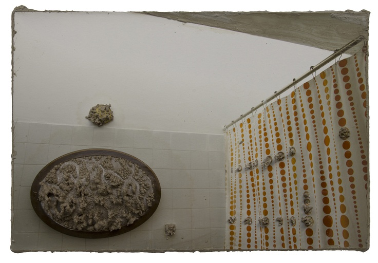 Naomi Safran-Hon, Home Invasion XIII (bathroom), 2012, 30.5 x 20 cm, ink jet print, kant en cement op canvas
