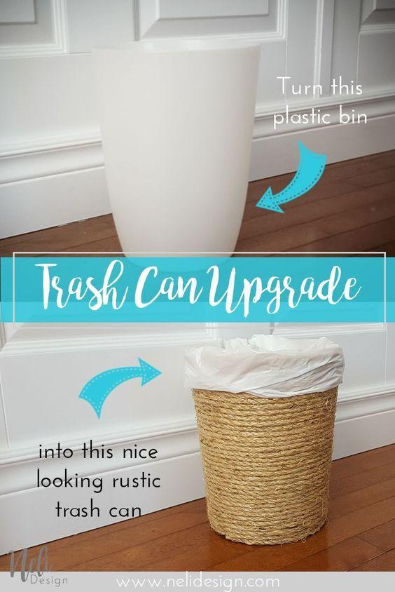 Sisal rope Trash Can Waste bin Upgrade Rustic Easy cheap fast DIY Poubelle Salle de bain Home Decor