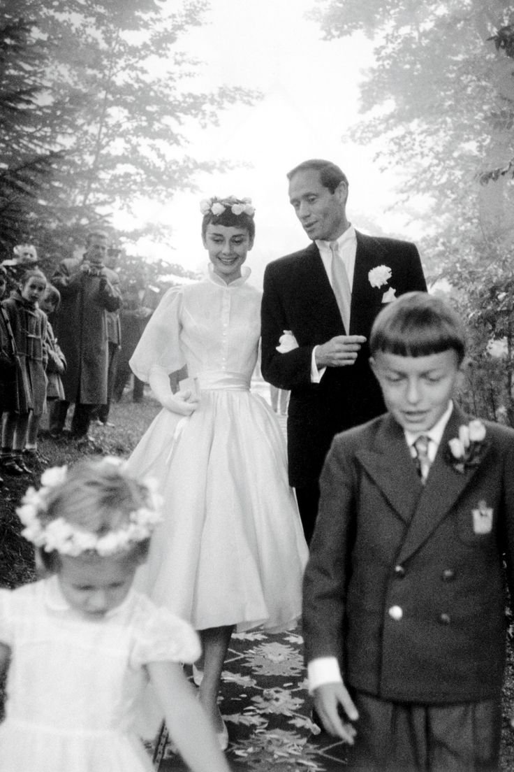 1954 wedding of actress Audrey Hepburn and Mel Ferrer, actor and film director/producer.