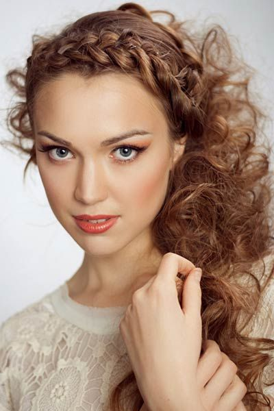 Color Crown French Braid Half Up Half Down Curly Hair Style