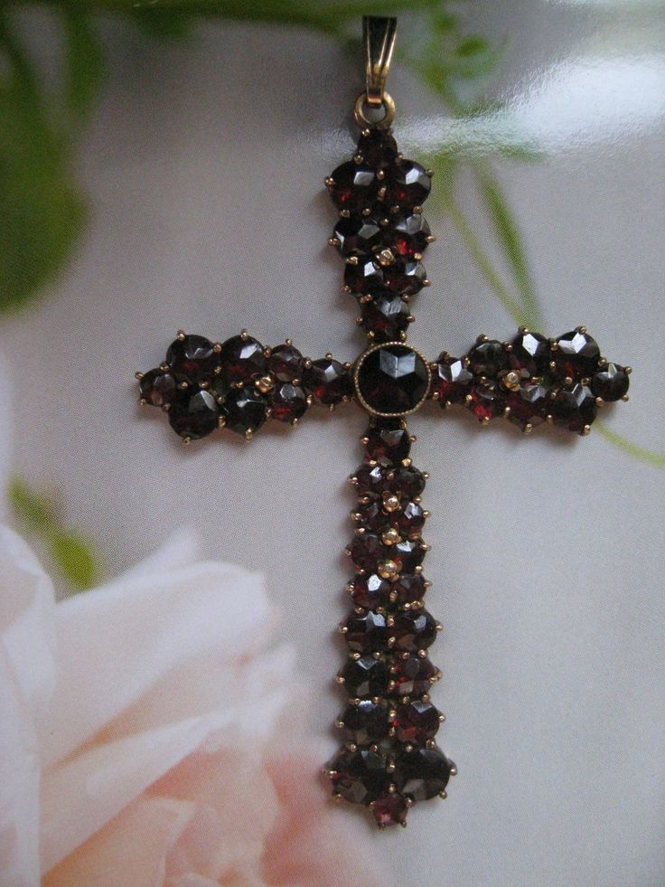 Bohemian Garnet Cross Pendant Germany from inspiredbynanny on Ruby Lane