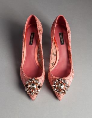 LACE BELLUCI PUMPS WITH TAORMINA BROOCH - Closed-toe slip-ons  - Dolce&Gabbana - Winter 2015