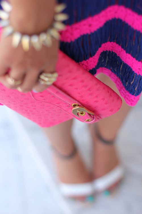 Hot pink: Fashion, Hotpink, Navy Pink, Color, Street Style, Hot Pink, Styles