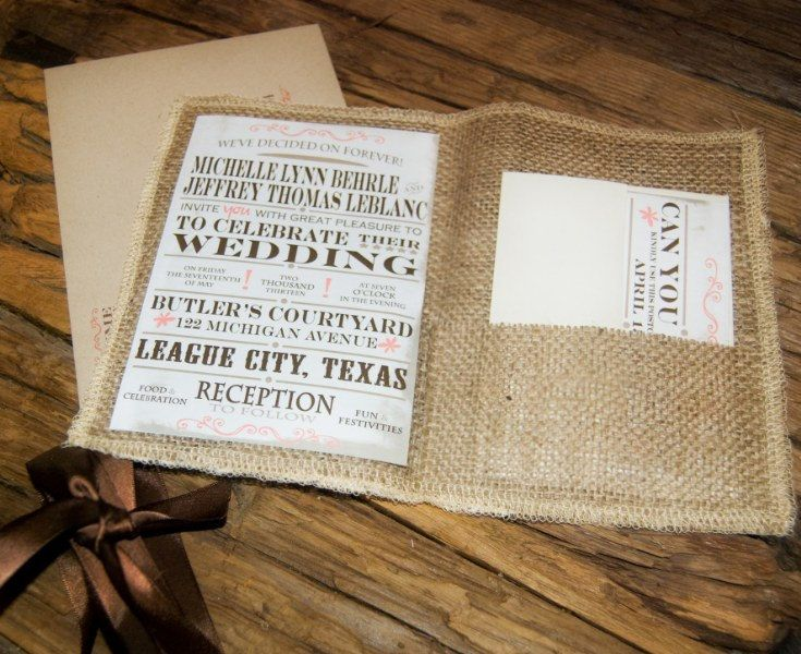 rustic wedding invitation burlap wedding invitation 300 via etsy