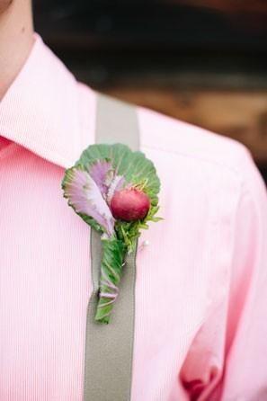 Radish boutonniere perfect for a farm or garden wedding. @myweddingdotcom