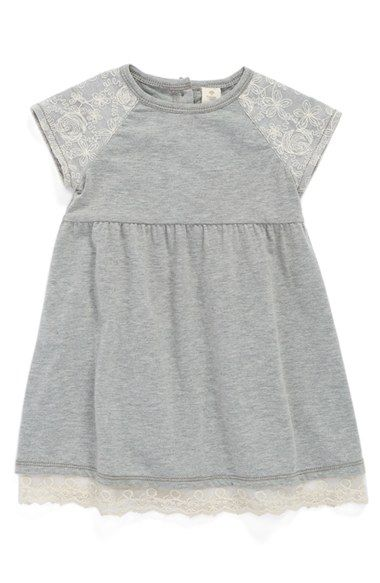 Tucker + Tate Jersey Dress (Baby Girls) | Nordstrom | Shopswell find. An ultrasoft jersey dress, fashioned with pretty floral lace on the sleeves and hem, serves as a casual, everyday staple for baby.