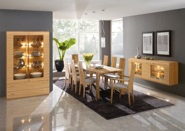 Wooden furniture and grey background