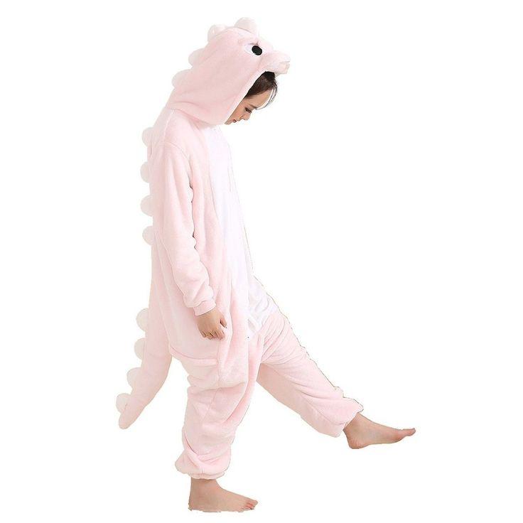 Afoxsos Women's Pink Dinosaur Onesie Adult Pajamas Cosplay Costume Pink Dragon