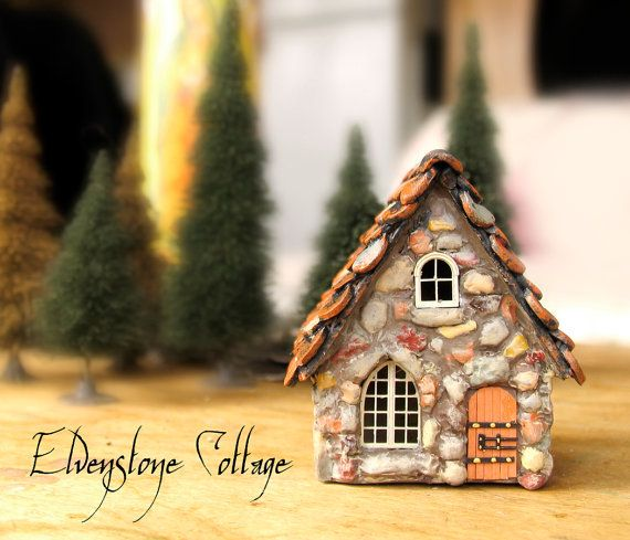 Elvenstone Cottage Miniature Fairy House with by bewilderandpine, $39.00