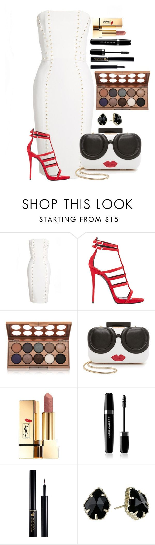 """Untitled #1467"" by fabianarveloc on Polyvore featuring Versace, Giuseppe Zanotti, NYX, Alice + Olivia, Yves Saint Laurent, Marc Jacobs, Lancôme and Kendra Scott"