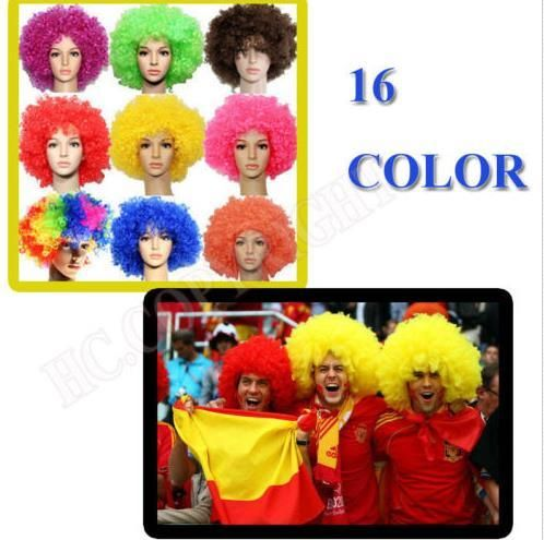 [Visit to Buy] Clown Fans Carnival Wig Disco cap hat Funny Fancy Dress Stage Do Fun Joker Adult Child Costume Afro Curly Hair Wig party props #Advertisement