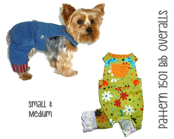 Dog Overalls Pattern 1501 Small & Medium Dog Clothes