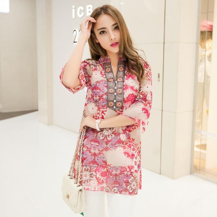 2016 Summer New Embroidery Printing Women Vestidos Chiffon Blouse Red / Blue 4XL Plus Size Floral Casual Blouse