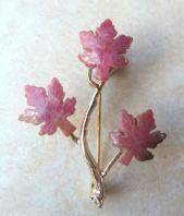 Rhodonite Hand Carved Maple Leaf Brooch