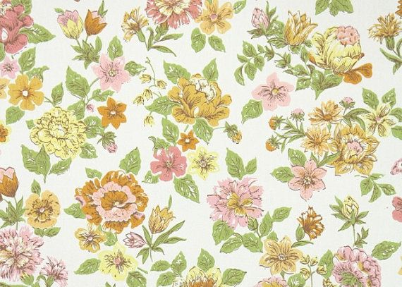 1960s vintage wallpaper by the yard retro floral