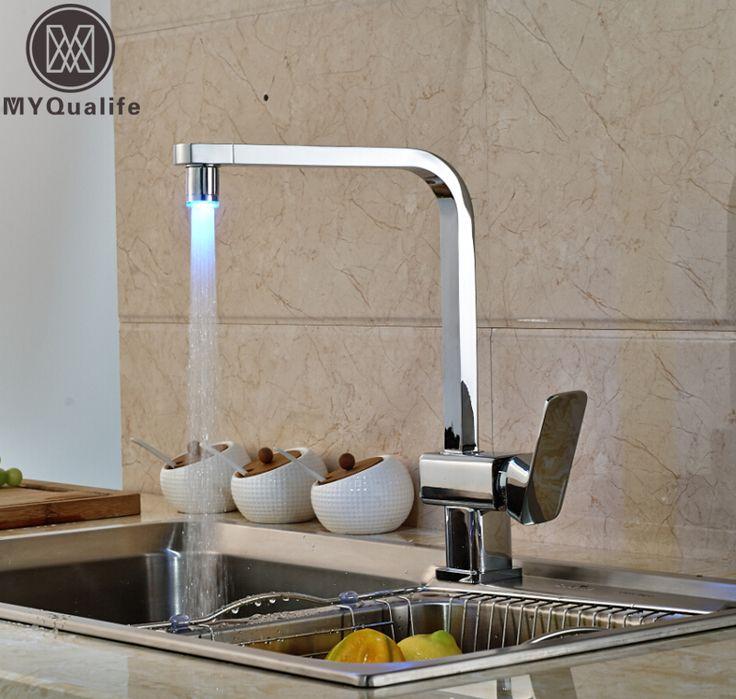 Polished Chrome LED Square Kitchen Sink Faucet Deck Mount Single Handle Rotation Kitchen Mixer Taps