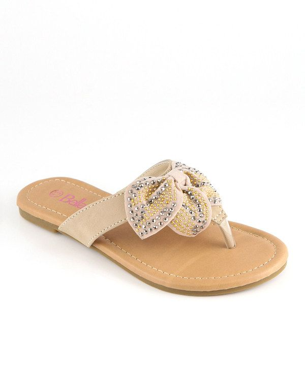 This Bella Marie Beige Studded Bow Sandal by Bella Marie is perfect! #zulilyfinds