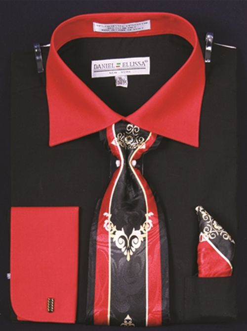 df516869f4b1 BLACK RED Featuring Men's Two Tone French Cuff Shirts with Cuff Links with  Printed Necktie From the Daniel Ellissa of NY Collection, the makers of  Daniel ...