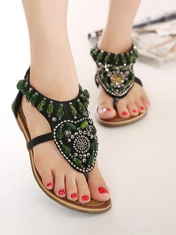 025a3ac4060 Bohemia Beads Decorated Flat Sandals