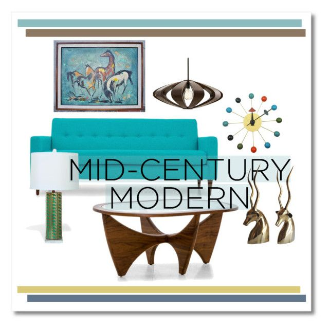 """""""Mid-Century Modern Living Room"""" by krskinner ❤ liked on Polyvore featuring interior, interiors, interior design, home, home decor, interior decorating, Michael Kors, Joybird, Mod Made and Arteriors"""
