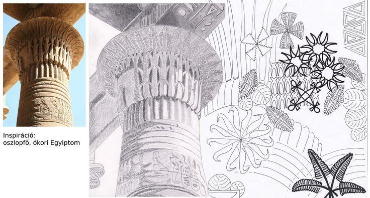 Hári Katalin, mintatervezés. Inspiráció: ókori egyiptomi oszlopfő. / Hári Katalin, pattern design. Inspiration: ancient Egyptian column capital.