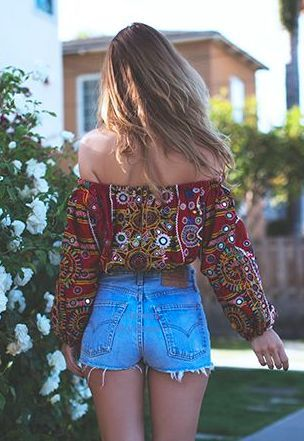 off the shoulder boho shirt + denim shorts: