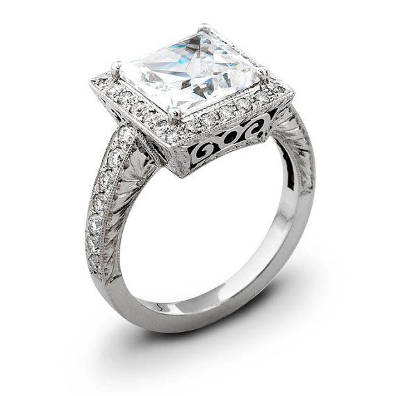 Ladies Vintage 14kt white gold engagement ring 050 by EVSdesign, $1490.00    This will be mine!!!