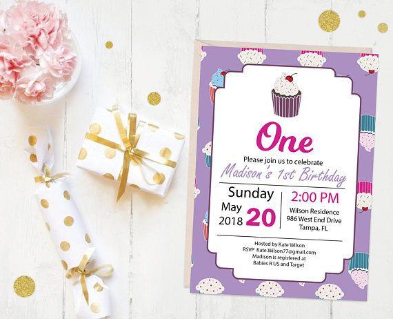 Cupcake Invitation, Birthday Invitation, printable invite - Made in United States - by Lauren Nicole