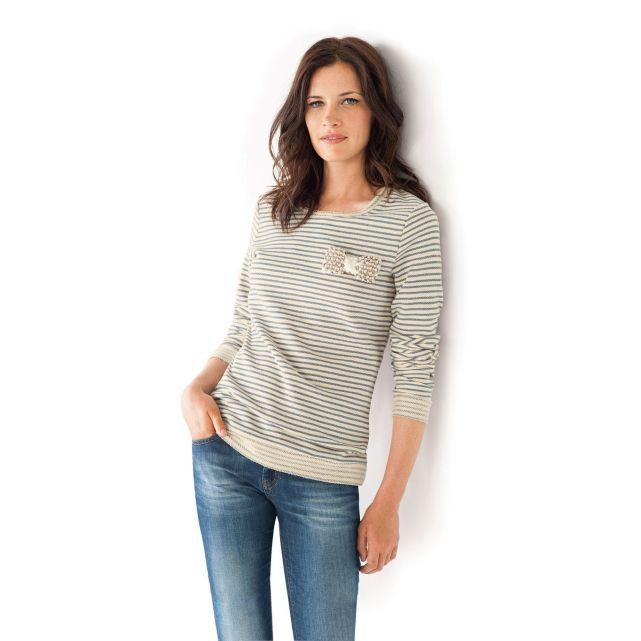 Sweat rayé col rond manches longues