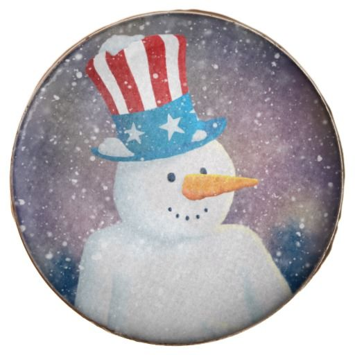 Uncle S'man Chocolate Oreo Cookie :- Deep Snowman Snowman goes all patriotic and wears his hat with pride. It's starting to snow heavily as the fireworks explode far off in the distance. #starsandstripes #holiday #unclesam #america #tophat #thanksgiving #4thjuly #independence #independenceday #party #celebration #winter #holidays #snowman #snowmen #snow #festive #christmas #seasonal #fun #cartoon #silly #cool #yuletide #seasonsgreetings #greetings #xmas #trees #christmasday #christmaseve