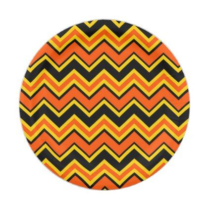 Halloween Party Holiday Orange Yellow Chevron Paper Plate - halloween decor diy cyo personalize unique party