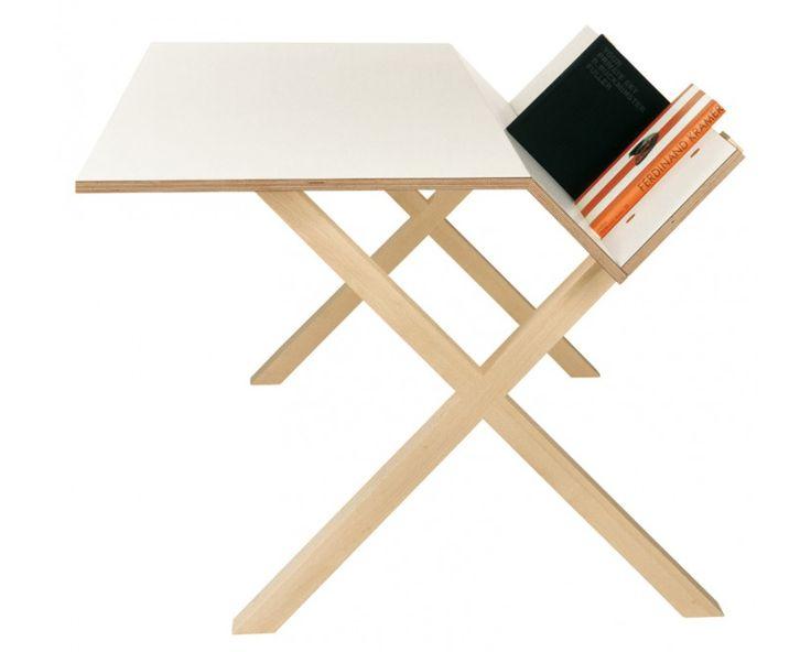 Schreibtisch | Moormann Kant Tisch - klein | Breite/Höhe/Tiefe: 160x74x105 cm, Laminat weiß | Design Bestseller 1.280 €