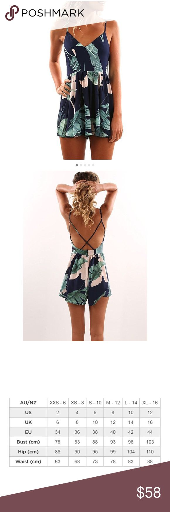 🆕Women's Leaf Print Strapless Romper 95%polyester+5%spandex Pants Jumpsuits & Rompers
