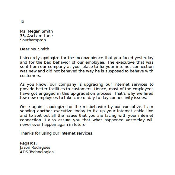 the 50 best apologize letter to client