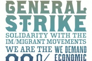 "Jesus Barraza from Oakland created this image in the style of old letter-press show posters. It references the historic and international contexts in which May Day is marked -- both as International Workers Day around the world and a day of strike and action by immigrant and migrant workers and allies seeking economic justice in the United States in recent years. ""Poster designers often get caught up in trying to pair the right words with the right images, but Jesus' image reminds me that..."