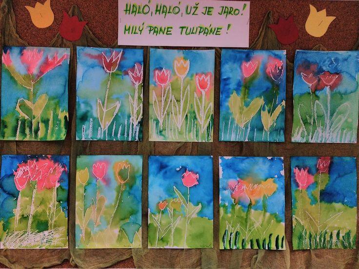 Tulipány - bílá voskovka, anilinky, zapouštění barev.