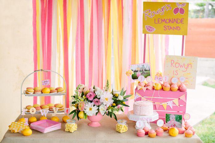 Pink Lemonade Girl Summer 1st Birthday Party Planning Ideas Decor