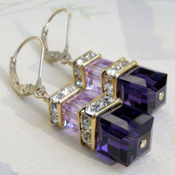 "Purple Swarovski Crystal Earrings, Gold, Eggplant, Violet ~ ""Elegant earrings which are made with Swarovski crystals in a deep purple hue and a cool violet color. A gorgeous cool color combination of eggplant and light purple, these earrings will dangle and sparkle brightly on your ears. Designed for a bridal party and perfect for an elegant date night. Swarovski crystal crowns accent the earrings, $ 42."" ~ From Etsy shop, ""fineheart"""