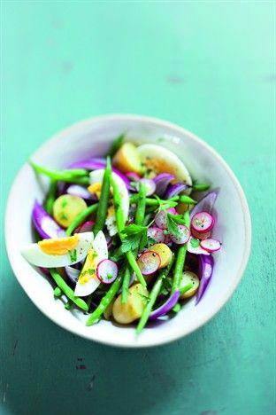 Salade de rattes et de haricots verts Livre : 1001 idées pour cuisiner sans se ruiner Ed. Larousse Cuisine