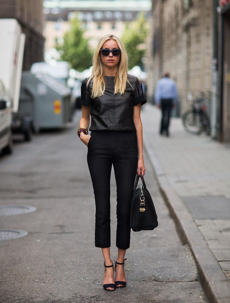 black leather top, black outfit