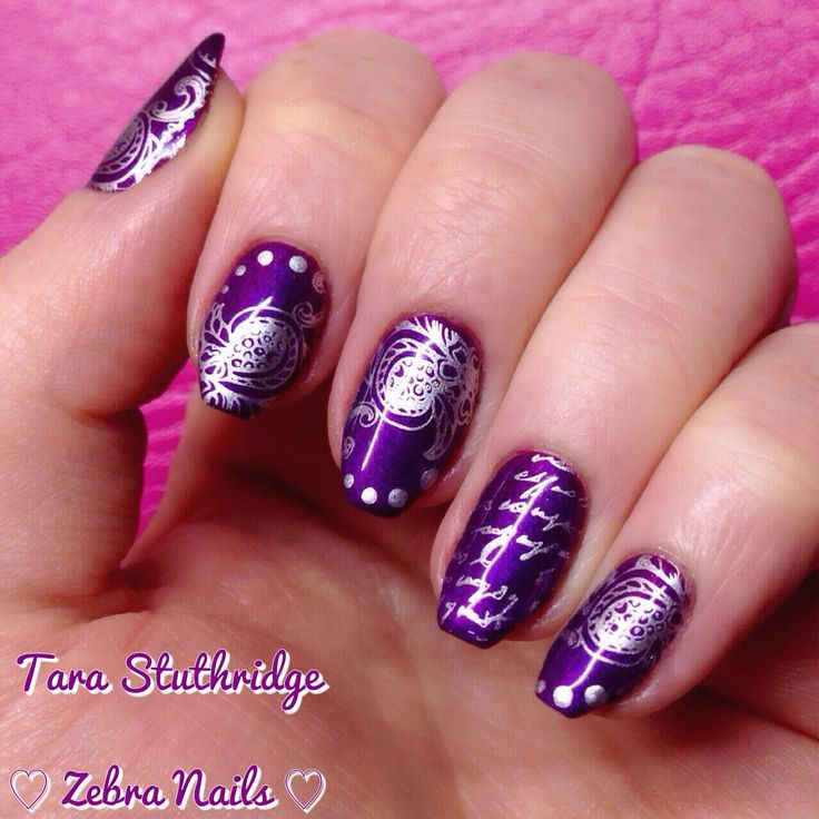 Gelish purple nails stamping nail art Barry m