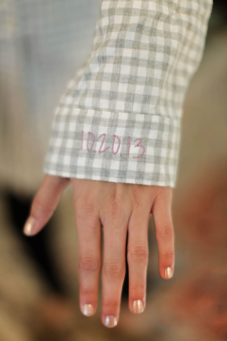 I gave all my girls flannel night shirts (they cut right at the knee.) It was fall so this was more fun than getting ready in nice white button-downs like bridesmaids usually do. I had their nicknames monogrammed onto the pocket, and mine had the wedding date on the sleeve.